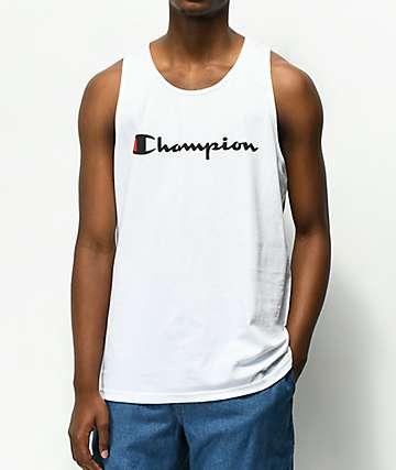 Champion Script White Tank Top