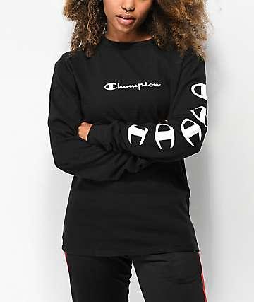 Champion Script camiseta de manga larga negra