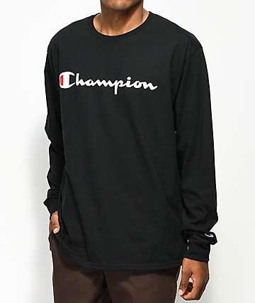 Champion Script camiseta negra de manga larga
