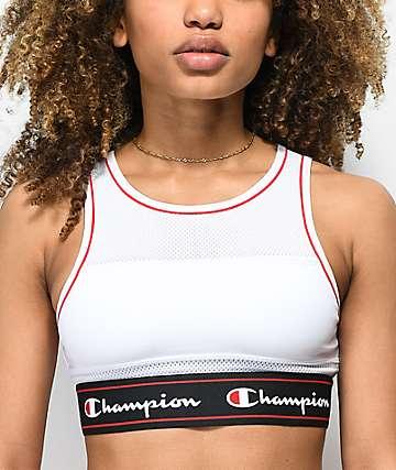 Champion Script corpiño deportivo de malla blanca