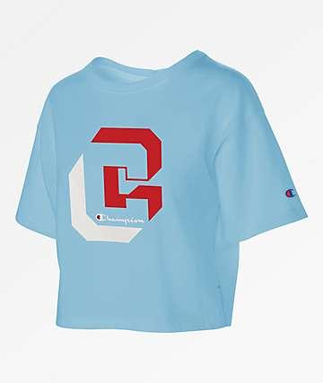 Champion Shadow C  Blue Crop T-Shirt
