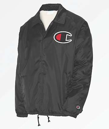 Champion Sherpa Lined Black Coaches Jacket