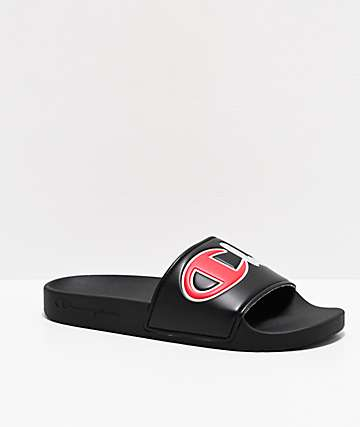 Champion Split Script Black Slide Sandals