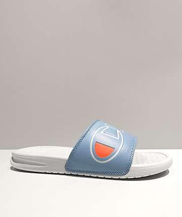 Champion Split Script Blue & White Slide Sandals
