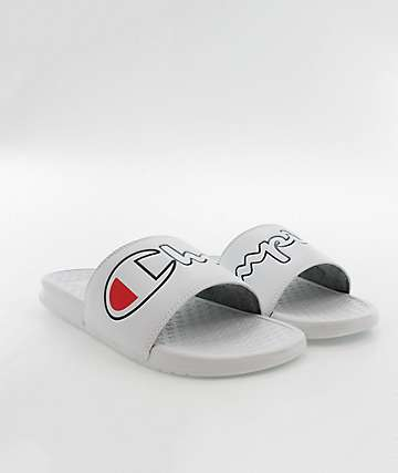 Champion Split Script White & Black Slide Sandals