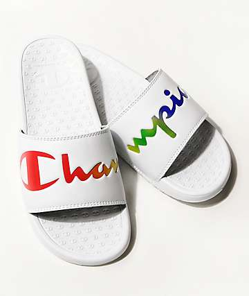 Champion Split Script White & Multi-Color Slide Sandals