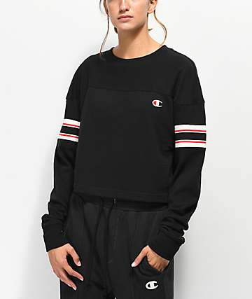 Champion Stripe Black Crop Long Sleeve T-Shirt