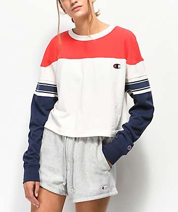 Champion Stripe Red, White & Blue Crop Long Sleeve T-Shirt