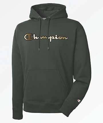 Champion Super Fleece Gold Script Green Hoodie