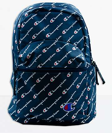 Champion Supercize Blue Allover Script Mini Backpack