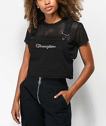 Champion Superfleece Black Crop Overall Bib Top