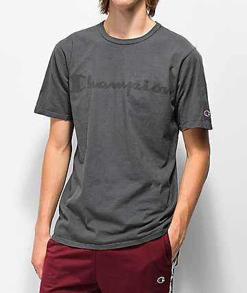 Champion T0336 Heritage Script Grey T-Shirt