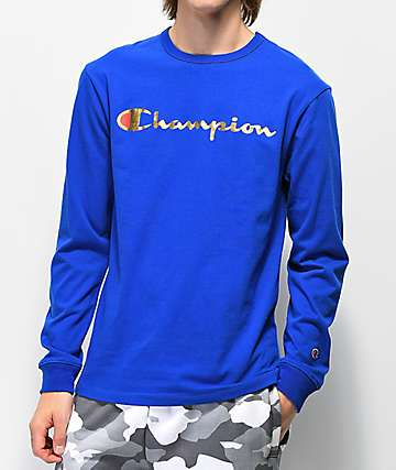Champion T3822 Heritage Blue Long Sleeve T-Shirt