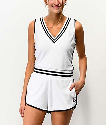 Champion Terry Cloth White Romper