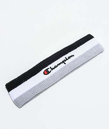Champion Terry Logo Black & White Striped Headband
