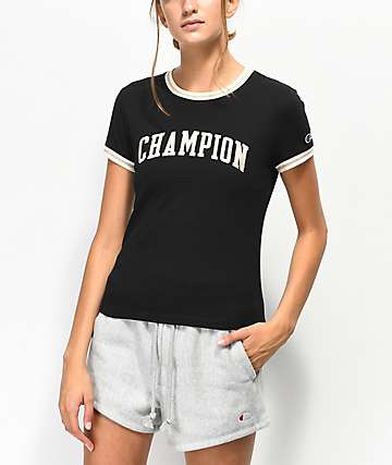 Champion Tiny Black Crop T-Shirt