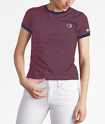 Champion Tiny Stripe Red & Navy T-Shirt