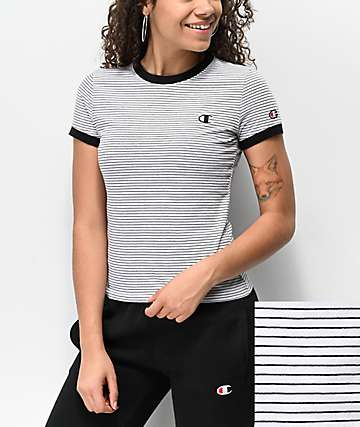 Champion Tiny Stripe White & Black T-Shirt