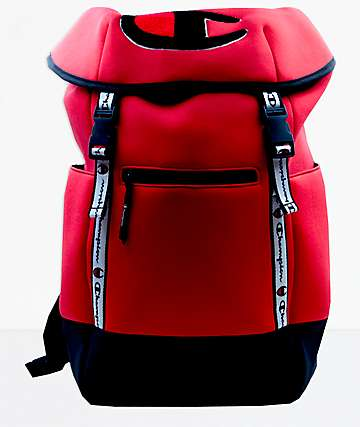 Champion Top Load Logo Red Backpack