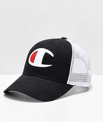885eaaec9c0 Champion Twill   Mesh Black   White Snapback Hat