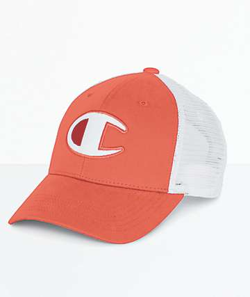 Champion Twill & Mesh Papaya Snapback Hat