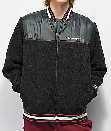 Champion V3375 Sherpa Black Bomber Jacket
