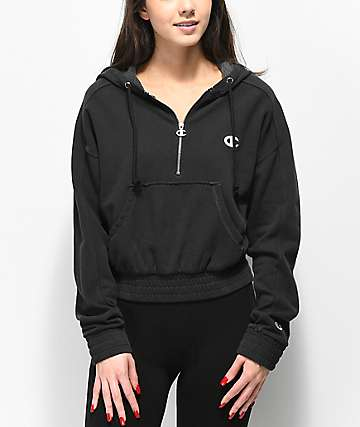Champion Vintage Dyed Fleece Half-Zip Black Hoodie