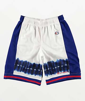 Champion White & Surf Blue Basketball Shorts