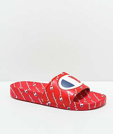 Champion Women's IPO Repeat Red Slide Sandals