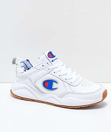 Champion Womens 93 Eighteen Big C White Leather Shoes