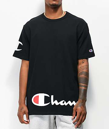 Champion Wrap Around Script Black T-Shirt