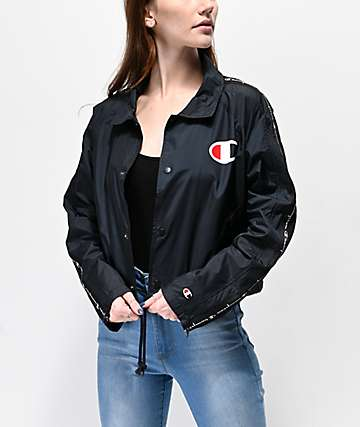 Champion Zip Tape Black Crop Coaches Jacket