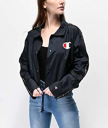 e702a790a Champion Zip chaqueta entrenador negra con cinta