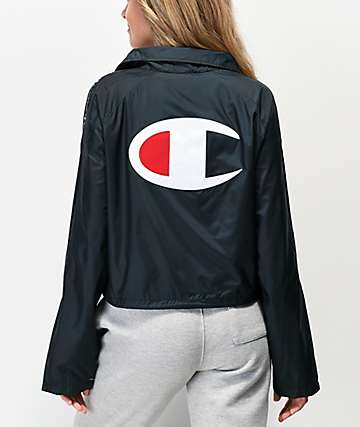 Champion Zipper Tape Black Crop Coaches Jacket