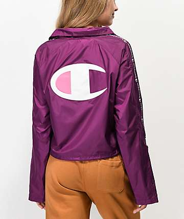 Champion Zipper Tape Venetian Purple Crop Coaches Jacket
