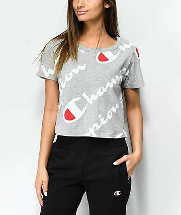 Champion camiseta corta gris con logotipos