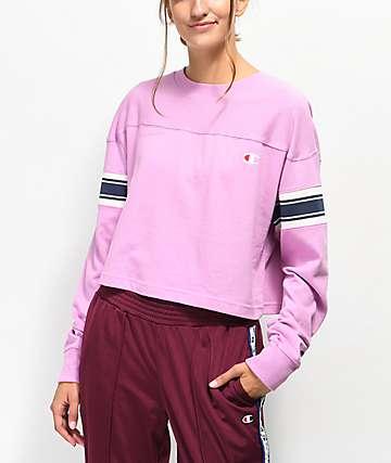 Champion camiseta de manga larga rosa con rayas