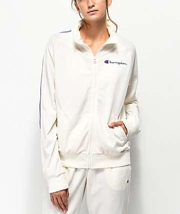 Champion chaqueta de chándal blanca con rayas