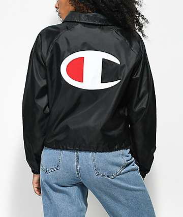 Champion chaqueta entrenador negra con capucha