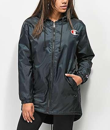 Champion chaqueta negra alargada con forro de sherpa