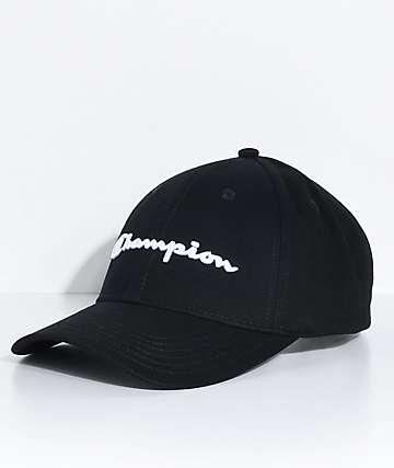 03e8066fd5235 Champion gorra de sarga negra con bordado