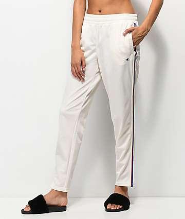Champion pantalones de chándal blancos con rayas