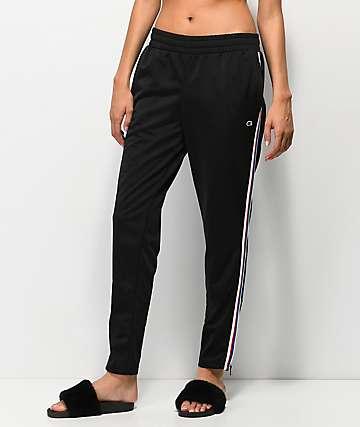 Champion pantalones de chándal negros con rayas