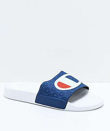 Champion sandalias en blanco y azul marino