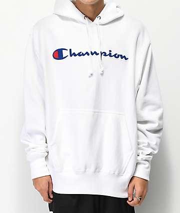 Champion sudadera con capucha blanca con logo de chenilla