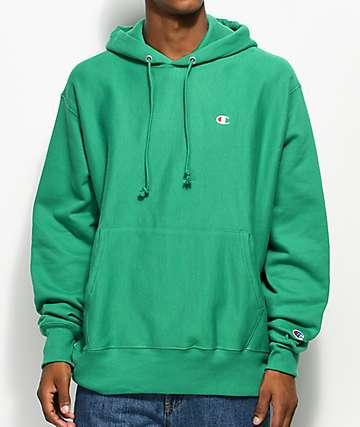 Champion sudadera con capucha verde de tejido inverso