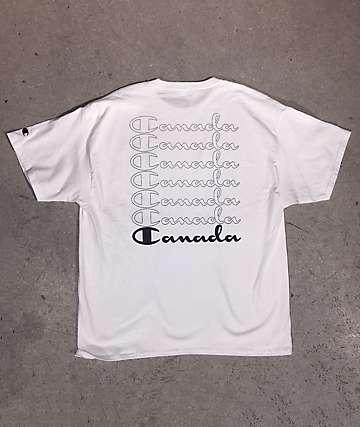 Champion x EHLIFE Outline Script White & Navy T-Shirt