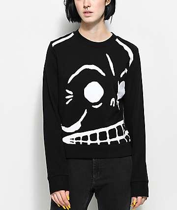 Cheap Monday Win Huge Black Skull Sweatshirt