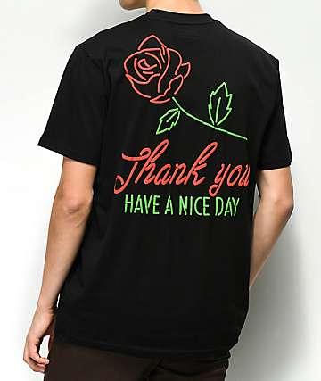 Chinatown Market Neon Rose camiseta negra