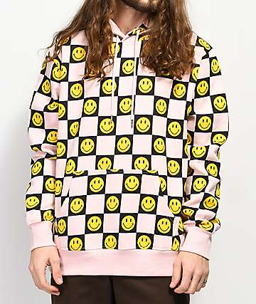 Chinatown Market Smile Face Checkered Pink Hoodie